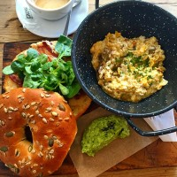 Egg Scramble with mushrooms and cheese SANDWICH with greens and a side of guacamole