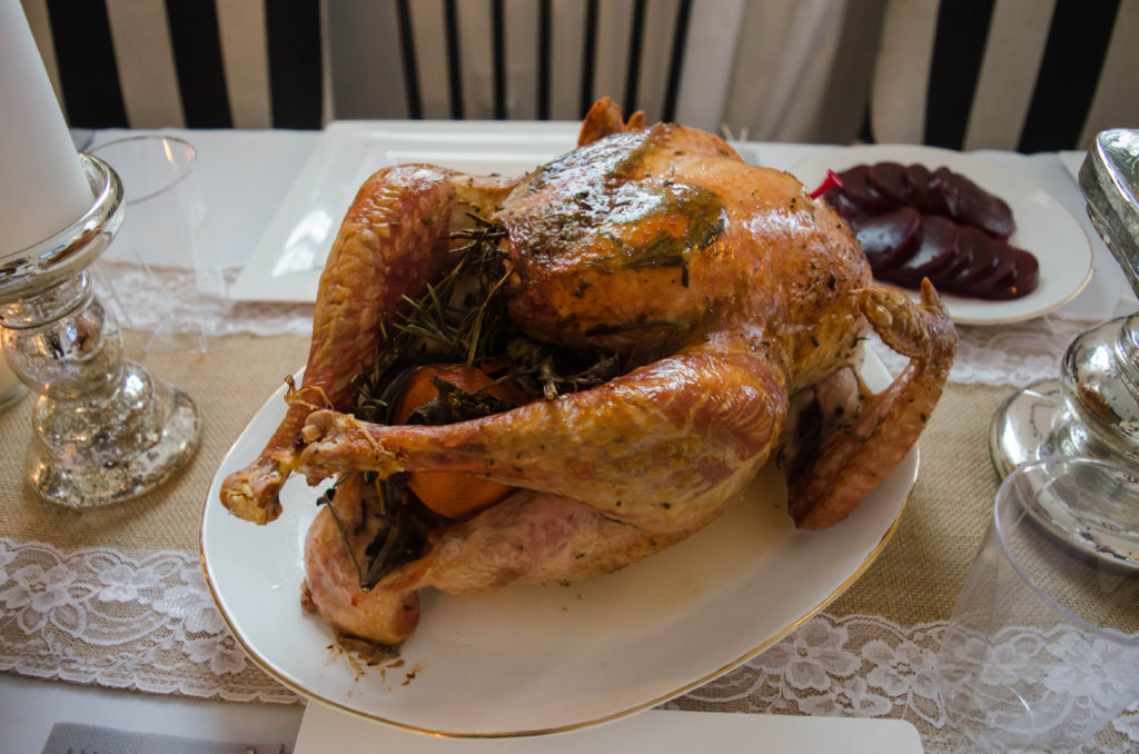 turkey stuffed with fresh herbs and an orange