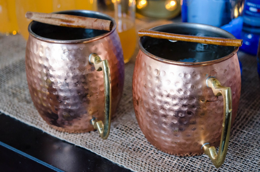 festive apple cider moscow mules