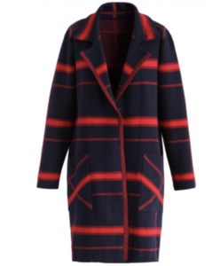 Navy and Red Plaid Coat