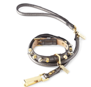 Frida gray leather collar