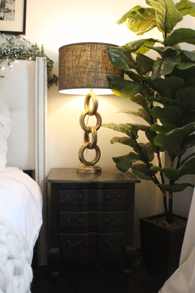 antique, antiques, bedroom reveal, home decor, black and white bedroom, fig leaf plant, gold lamp, pottery barn, tufted headboard