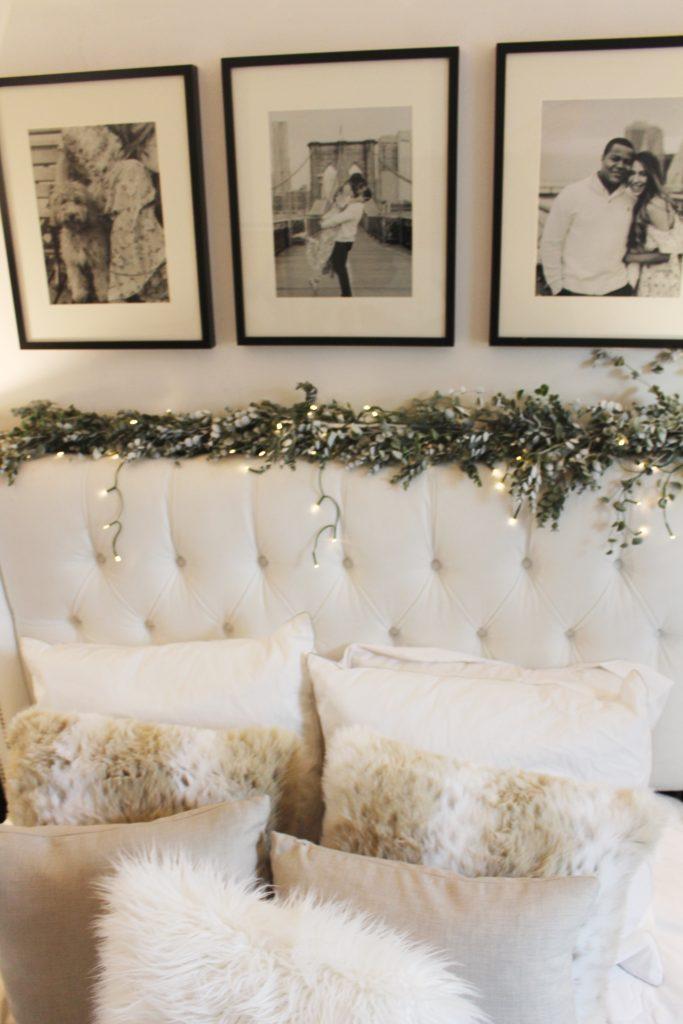 headboard, home decor, neutrals, faux fur pillows, chic bedroom, bedroom ideas, decor