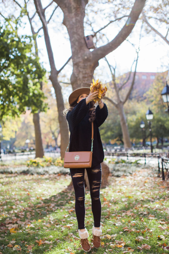 brown and black fall outfit