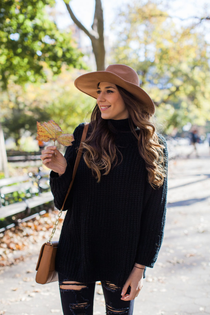 black and brown fall outfit
