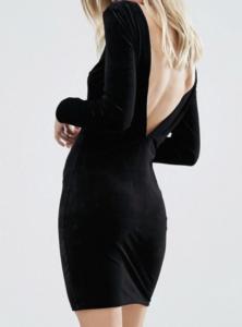 low back, black velvet dress