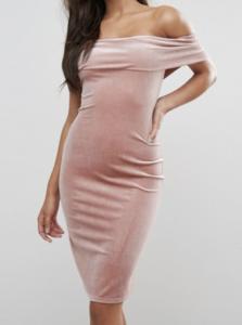 blush off shoulder dress