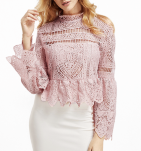 pink lace top $21