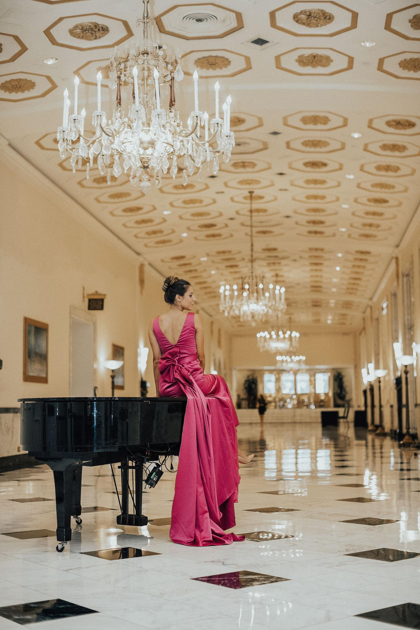 Fashion, Hotel, Travel, Traveler, Travel Blogger, Low back dress, backless, louboutin, Tiffany Blue Box, Tiffany Hardware Jewelry, pink silk evening gown