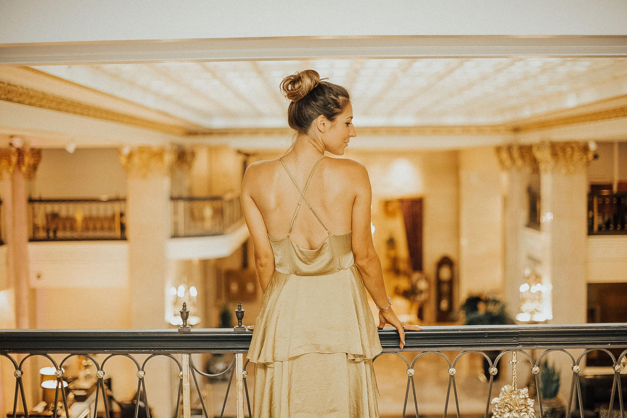 Fashion, Hotel, Travel, Traveler, Travel Blogger, Low back dress, backless, vintage, silk evening gown, louboutin