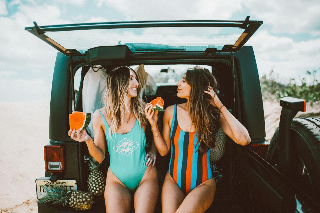 Beach, Summer, Montauk, black one piece, straw hat, jean shorts, best friends, watermelon, jeep