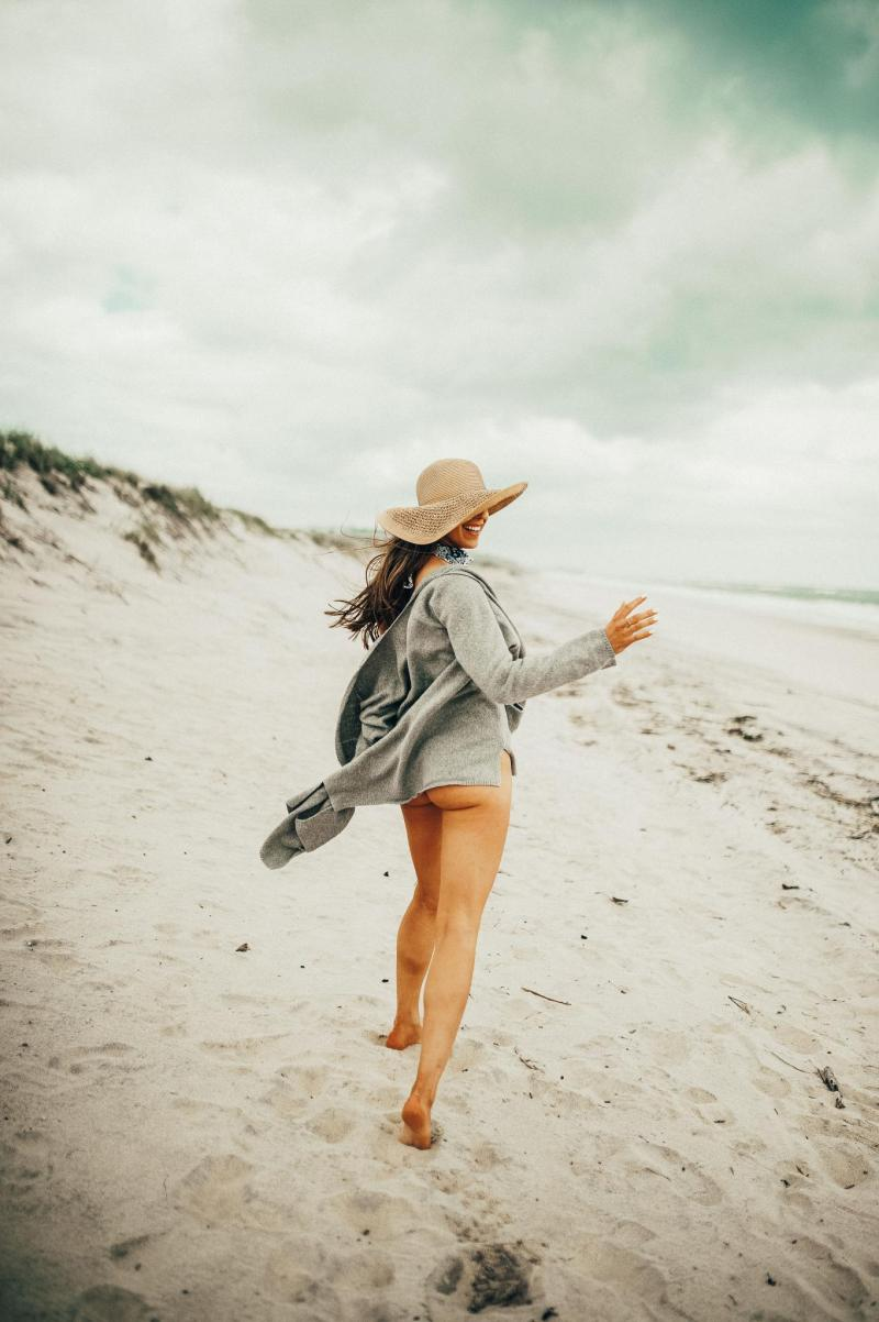 Beach, Summer, Montauk, black one piece, straw hat, jean shorts, best friends, sweater weather