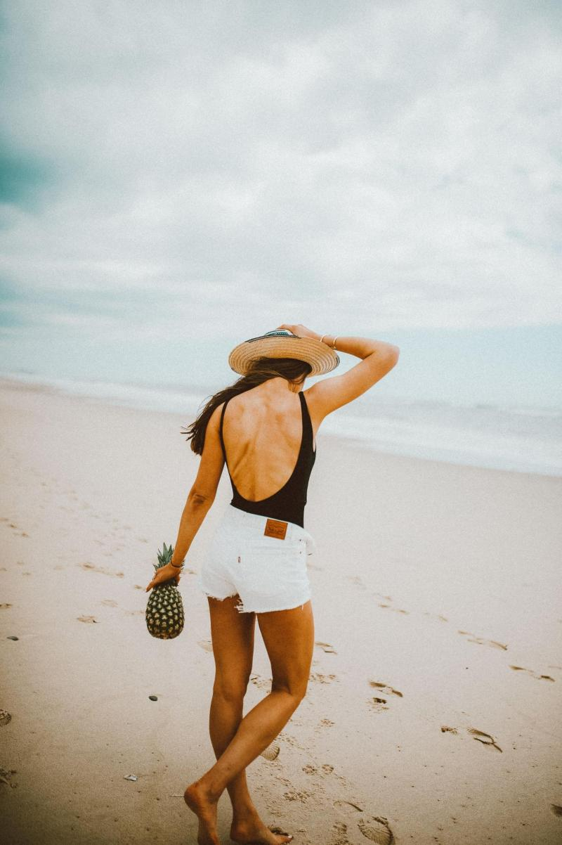 Beach, Summer, Montauk, black one piece, straw hat, jean shorts