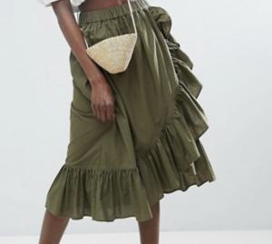 olive ruffle skirt