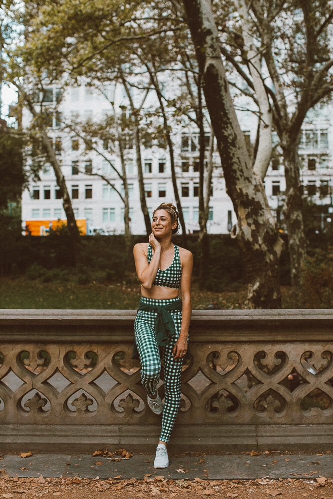 gingham workout clothes