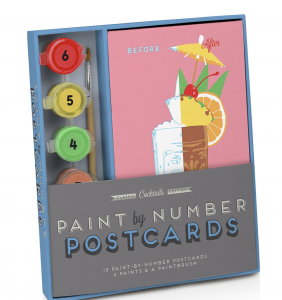 Classic Cocktails Edition Paint by Number Postcards Kit