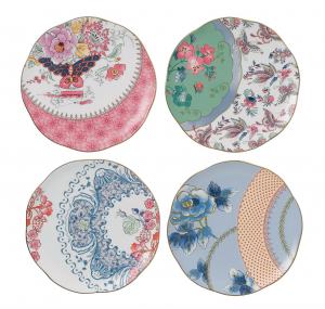 WEDGWOOD BUTTERFLY BLOOM TIDBIT PLATES, SET OF 4